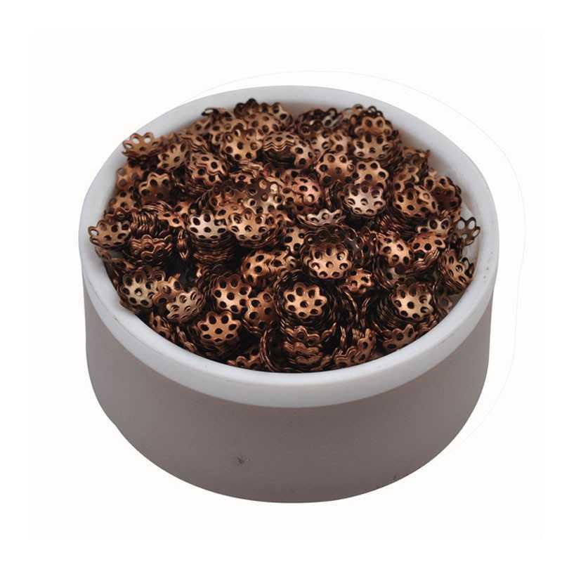 100 Coupelles / caps / Calottes Fleur 6mm Cuivre