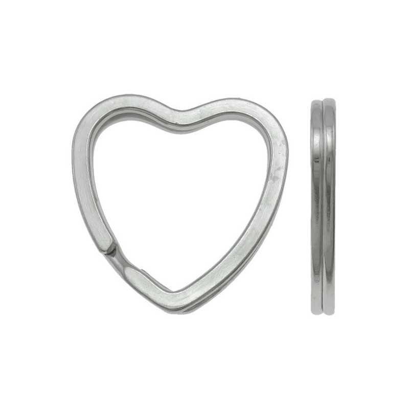 Anneaux Porte clé Argente 30mm Coeur
