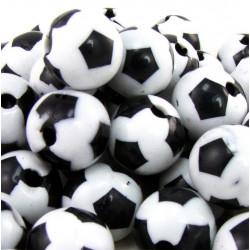10 Perles Ballon de football 12mm Noir et Blanc en Acrylique MC0112011