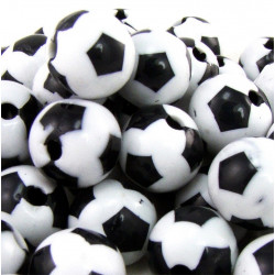 Lot de 10 Perles Ballon de football Noir en Acrylique 12mm