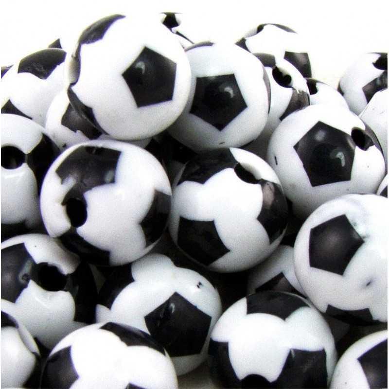 10 Perles Ballon de football 12mm Noir et Blanc en Acrylique