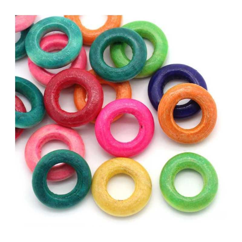 20 ou 50 Perles anneaux en Bois 15mm Mixte