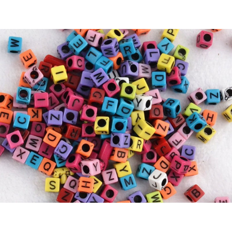 Perles Alphabet Mixte 6mm Lettre Cube