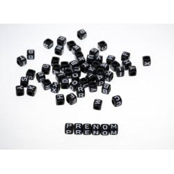 Perle Alphabet Noir Cube 6mm Lettre Aléatoire MC0106106-8
