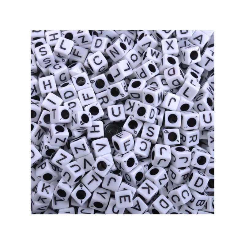 Perle Alphabet Blanche 7mm Lettre Cube