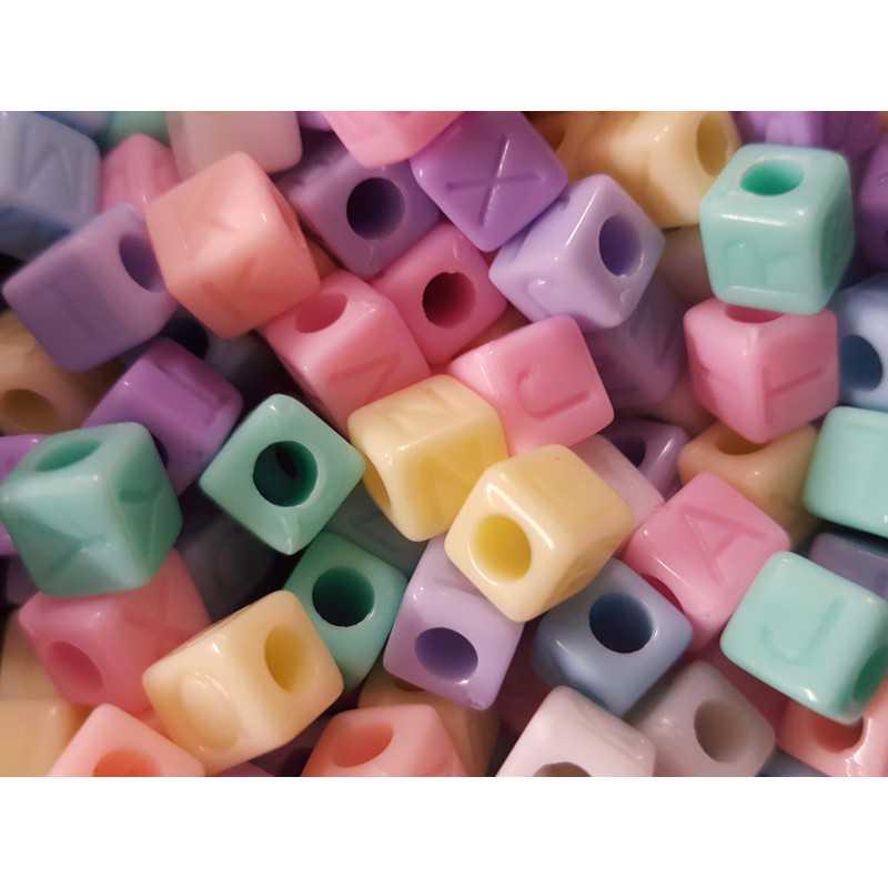 Lot Perles Alphabet 7mm Multicouleur Lettre Cube Ecriture invisible