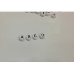 Lot Perles Alphabet 7mm x 4mm Blanche Acrylique Lettre Ronde MC0107111 - MC0107113