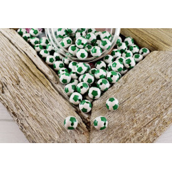 Lot de 10 Perles Ballon de football Vert en Acrylique 12mm