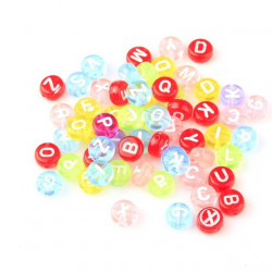 50 Perles Alphabet 7mm x 4mm Transparent Multi-couleur Lettre Ronde MC0107117 - MC0107119