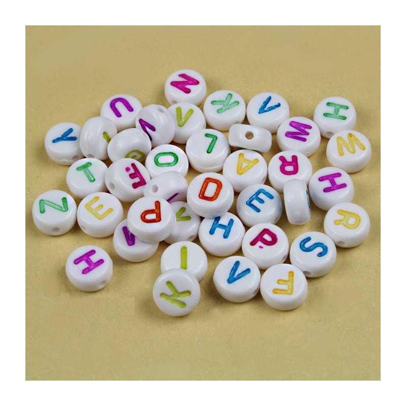 Lot Perles Alphabet 7mm x 4mm Blanche Acrylique Lettre Ecriture Mixte