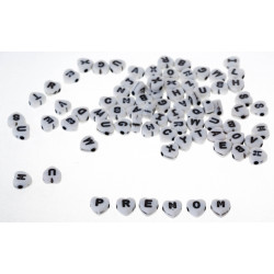 Lot Perles Alphabet 7mm Coeur Blanche Acrylique Lettre MC0107129 - MC0107131