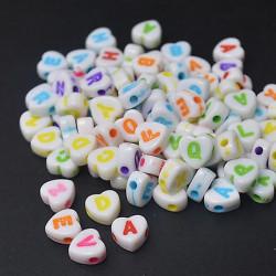 Perles Alphabet Coeur Blanche Ecriture Mixte 7mm Acrylique Lettre Aléatoire MC0107132 - MC0107134
