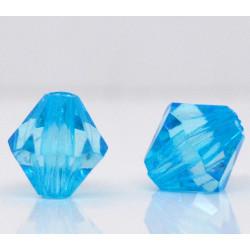 20 Perles en Acrylique Bleu 8mm Bicone Toupie MC0108071