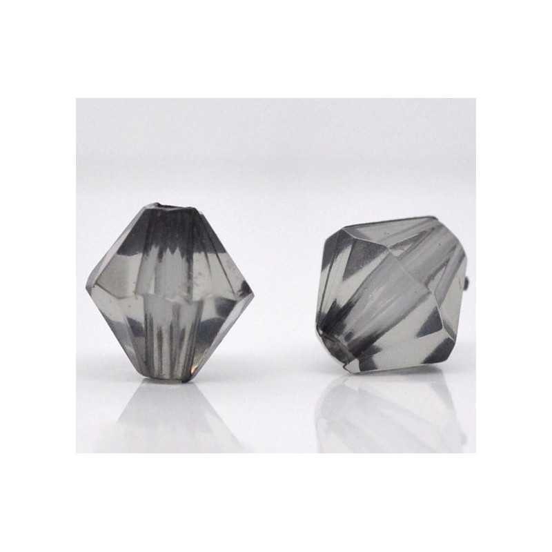 20 Perles en Acrylique Gris 8mm Bicone Toupie