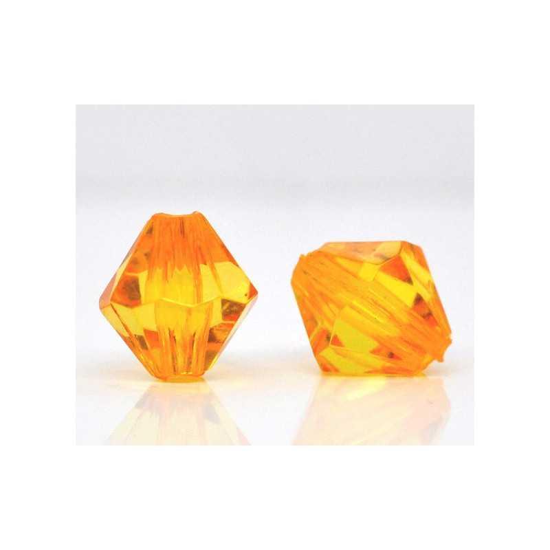 20 Perles en Acrylique Orange 8mm Bicone Toupie