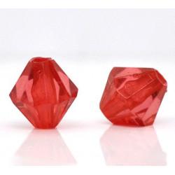 20 Perles en Acrylique Rouge 8mm Bicone Toupie MC0108077