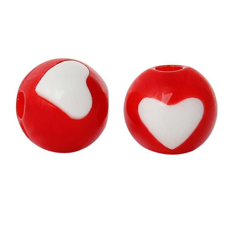20 Perles Acrylique 8mm Ronde Rouge avec Coeur
