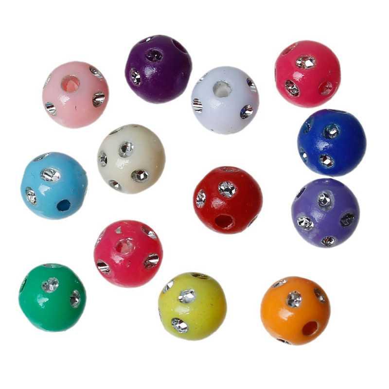 20 Perles Mix Point Argentées 8mm Couleur Mixte