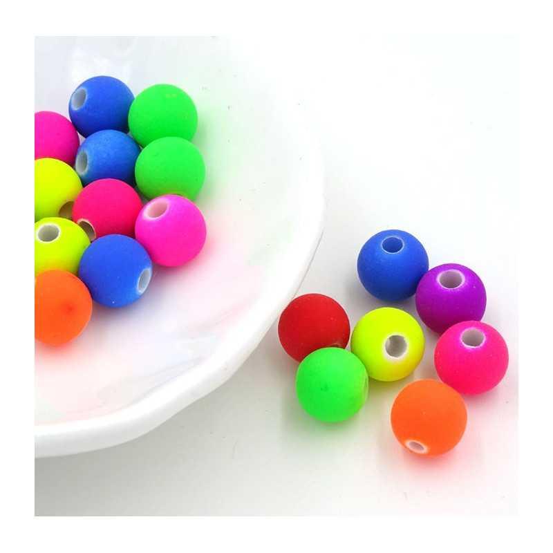 20 Perles en Acrylique 8mm Fluo Mixte