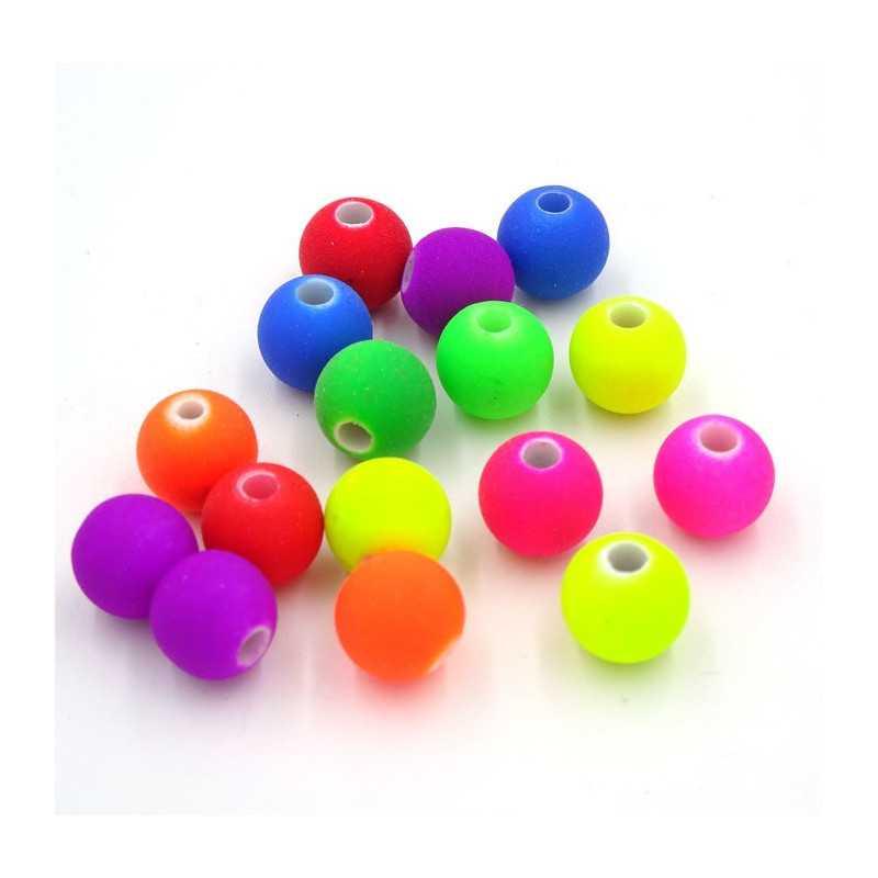 30 Perles en Acrylique 8mm Fluo Mixte