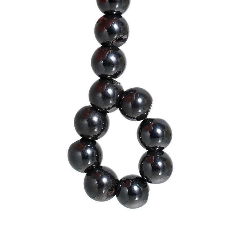 10 Perles Hematite Noir 8mm Magnetique