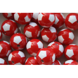 Lot de 10 Perles Ballon de football Rouge en Acrylique 12mm