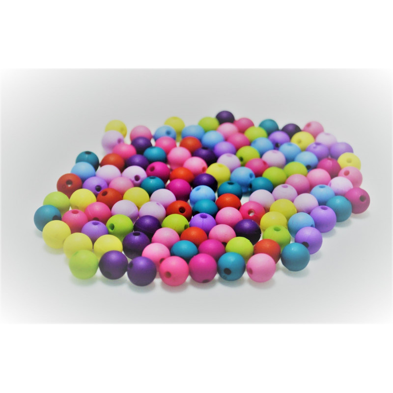 20 Perles en Resine Mat 8mm Mixte