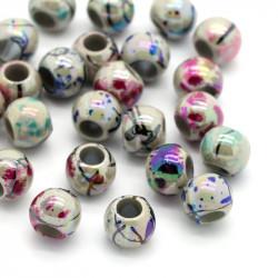 20 Perles Rayée Acrylique 8mm Grande Trou 4mm Marbrées MC0108094