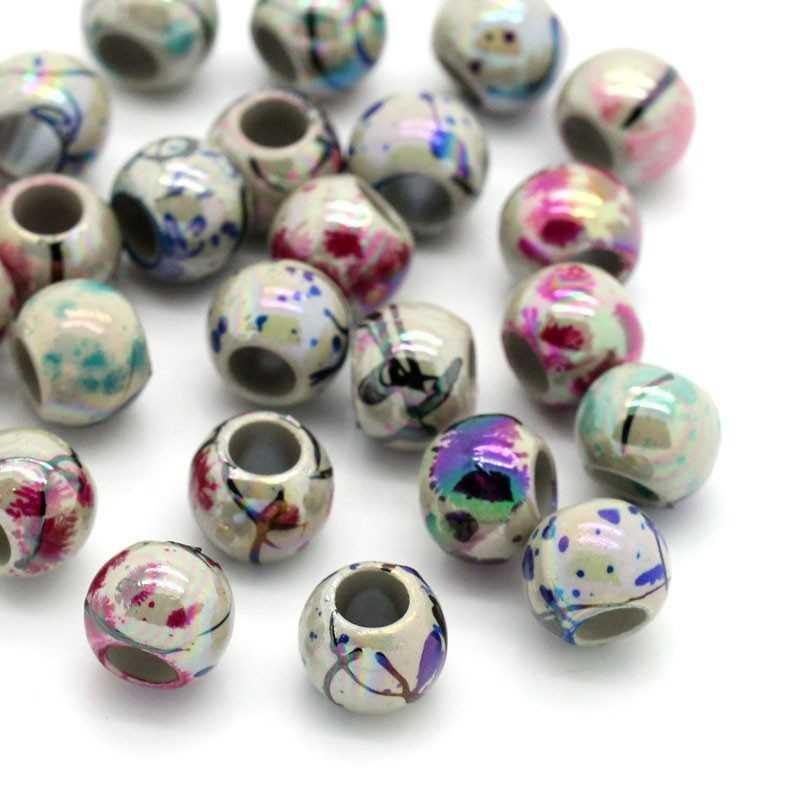 20 Perles Rayée Acrylique 8mm Grande Trou 4mm Marbrées