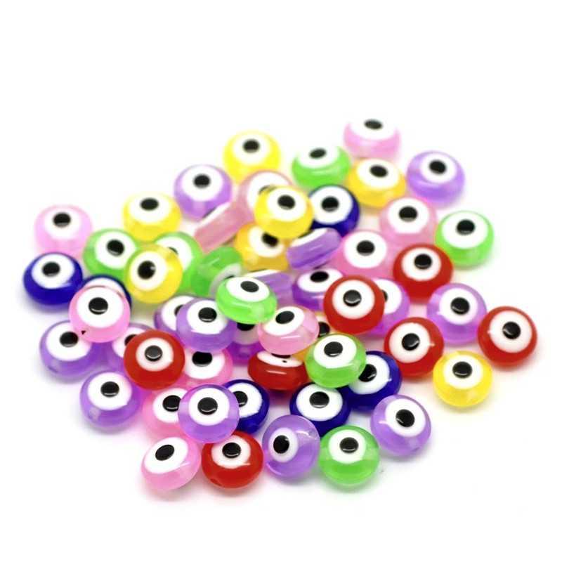20 Perle Plat Mixte 8mm x 5mm oeil Turc
