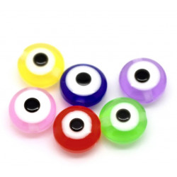 20 Perle Plat Mixte 8mm x 5mm oeil Turc MC0108099