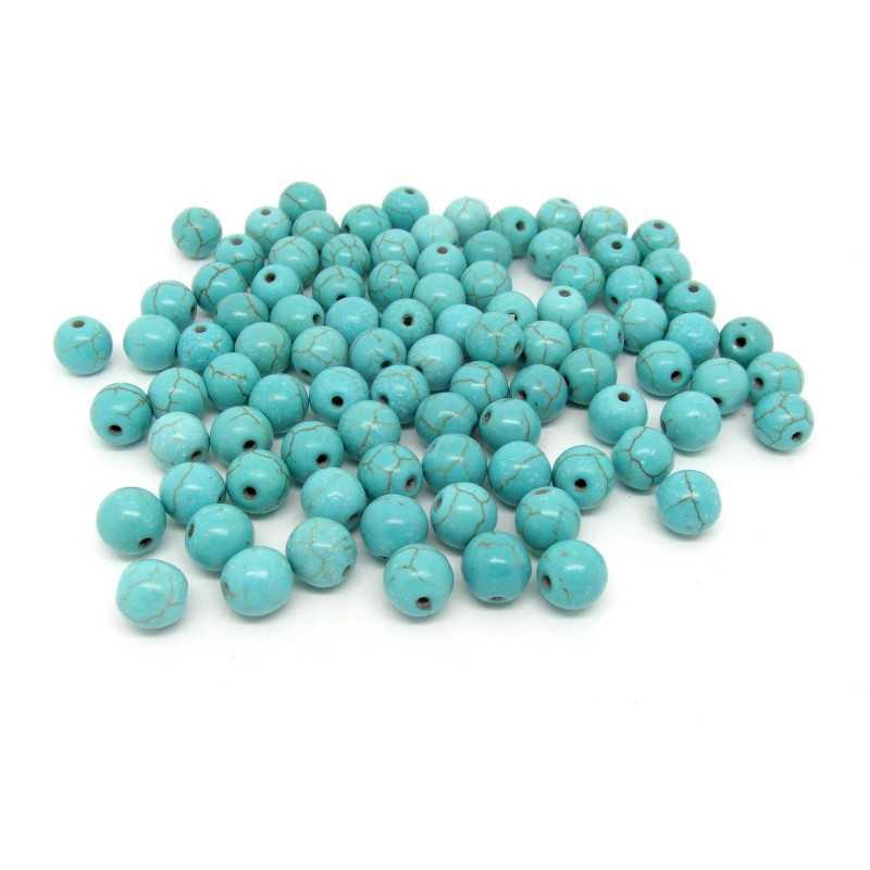 20 Perles 8mm Naturel Pierre Turquoise
