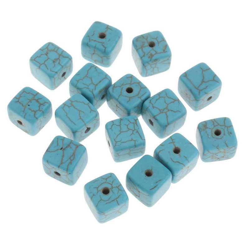 10 Perles Cube 8mm Naturel Pierre Turquoise