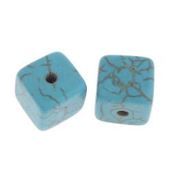 10 Perles Cube 8mm Imitation Pierre Turquoise MC0108202