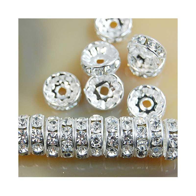 20 Perles Rondelle Strass Argenté 10mm