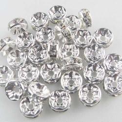 20 Perles Rondelle Strass Argenté 10mm MC0110074