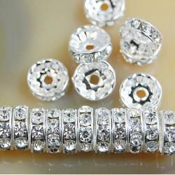 50 Perles Rondelle Strass Argenté 10mm MC0110075