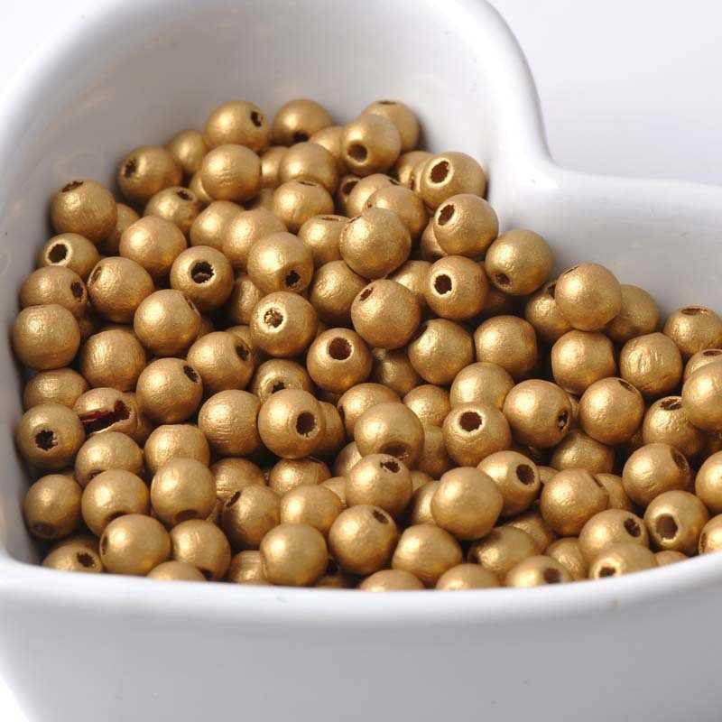 50 Perles en Bois 6mm Couleur Doré