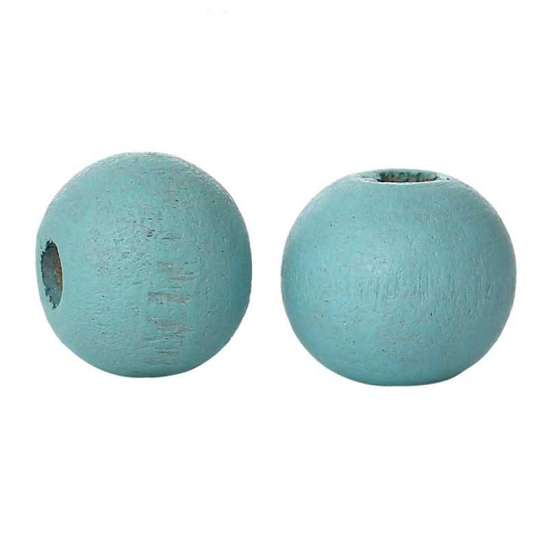 50 Perles en Bois 6mm Couleur Bleu Clair