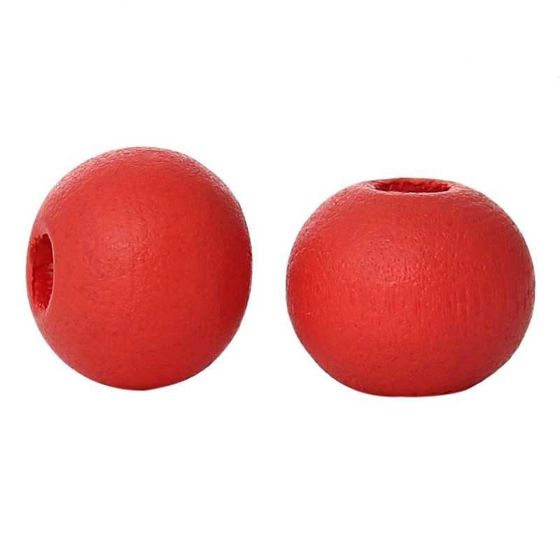 50 Perles en Bois 6mm Couleur Rouge Pasteque