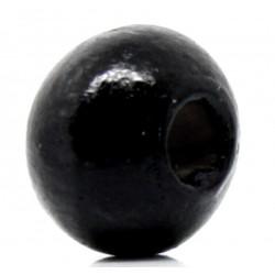 50 Perles en Bois 6mm Couleur Noir MC0106205