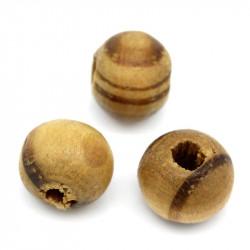 40 Perle en Bois 6mm Strié Marron Rayé MC0106209