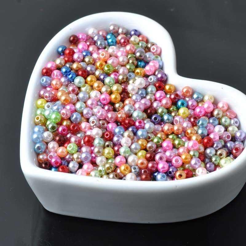 100 Perle imitation Brillant 3mm Couleur Mixte