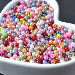 100 Perle imitation Brillant 3mm Couleur Mixte MC0103030
