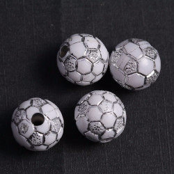 Lot de 10 Perles Ballon de football Blanc en Acrylique 10mm