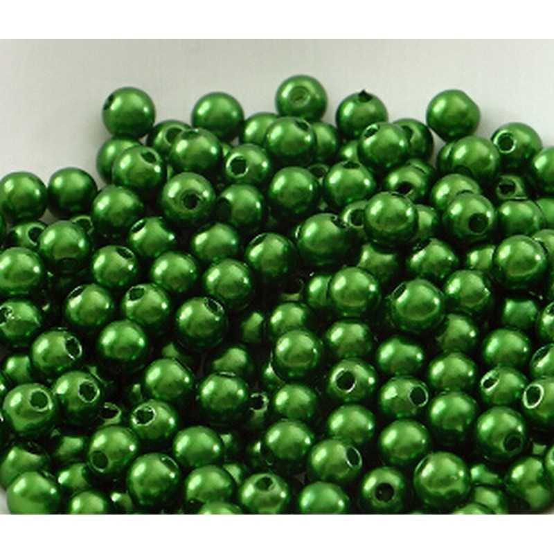 100 Perle imitation Brillant 3mm Couleur Vert Foncé