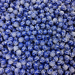 Lot 20 Perle 8mm Point argente spiral Couleur Bleu MC0108217