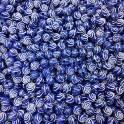 Lot 20 Perle 8mm Point argente spiral Couleur Bleu MC0108217