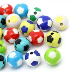 Lot de 10 Perles Ballon de football Mixte en Acrylique 12mm MC0112010