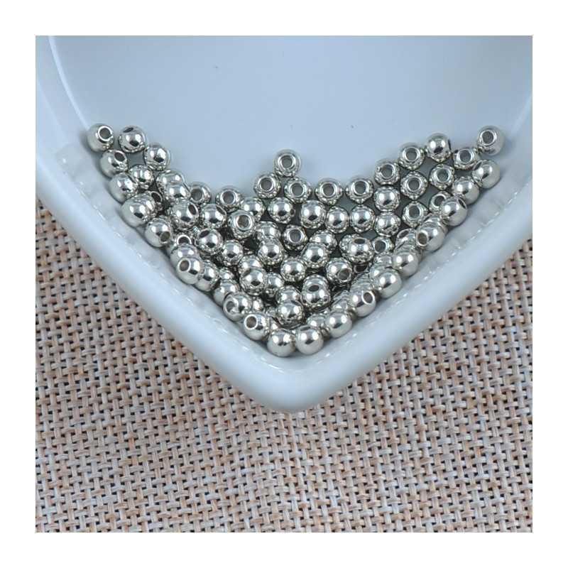 100 Perles Acrylique Brillante 4mm Couleur Argenté